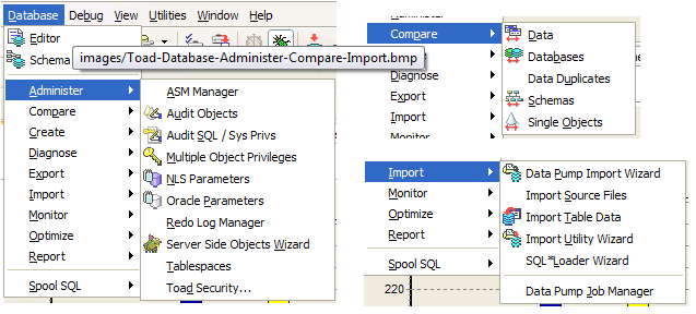 Toad quick guide database administer compare and import options ccuart Choice Image